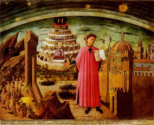 Dante met de Divina Commedia in de hand (1465), Domenico di Michelino, Santa Maria del Fiore, Florence. (foto van Wikipedia)